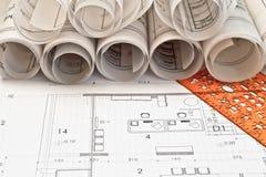 Rodillos y planes del arquitecto imagen de archivo libre de regalías