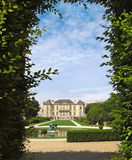 Rodin Chateau Paris. The Rodin Art museum is housed in this estate manor chateau. The scenic shot is framed by the formal garden grounds hedges stock photo