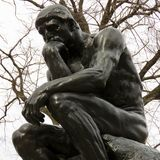 Rodin`s statue of The Thinker, Philadelphia, PA. royalty free stock image