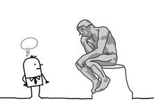 Rodin's thinker parody. Hand drawn cartoon characters - The Rodin's thinker parody
