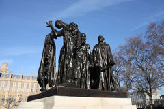 Rodin sculpture. The Burghers of Calais (Les Bourgeois de Calais), one of the most famous sculptures by Auguste Rodin. Victoria Tower Gardens in London Stock Photography