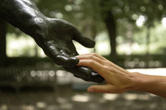 Rodin statue with human hands Royalty Free Stock Photography