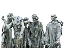 The hers of Calais - statue of Rodin, isolated. Auguste Rodins monument the Burghers of Calais - isolated Royalty Free Stock Photo