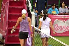 Rodionova & Zheng. DOHA-QATAR: FEBRUARY 11: Australian Tennis Player Anastasia Rodionova and Chinese Jie Zheng at Qatar Total Open on February 11, 2013 in Stock Photo