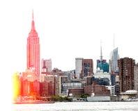 Środka miasta Manhattan linia horyzontu z empire state building Obrazy Stock