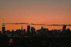 Środka miasta Manhattan linii horyzontu panorama przy zmierzchem Fotografia Royalty Free