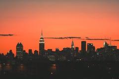 Środka miasta Manhattan linii horyzontu panorama przy zmierzchem Zdjęcia Royalty Free