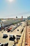 Środkowa droga na Nevsky perspektywie i - panorama od wzrosta Zdjęcia Stock