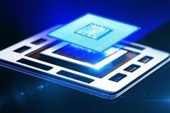 Środkowego procesoru jednostka na mainboard Fotografia Stock