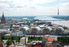 środkowego rynku Riga odgórny widok Zdjęcia Stock
