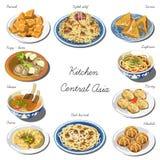 Środkowy Asia kuchni set Kolekcja karmowi naczynia Obrazy Stock