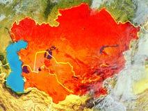Środkowy Azja na ziemi od przestrzeni ilustracji