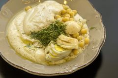 Środkowy Wschód kuchni hummus ful z fasolami i chickpeas, tahini Zdjęcie Royalty Free