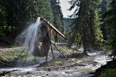 Rodna berg i Rumänien - vattenhjul på den Iza flodkällan Arkivfoton
