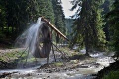 Rodnabergen in Roemenië - waterwiel bij Iza rivierbron Stock Foto's