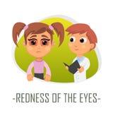 Rodnad av ögonläkarundersökningbegreppet också vektor för coreldrawillustration Royaltyfri Foto
