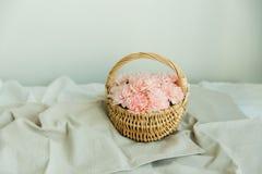 Rodnadblommor av nejlikan i en korg Fotografering för Bildbyråer