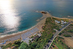 Rodos. Aerial view Rodos (Greece). Beach Hotel Stock Photography