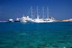 Rodos harbor. With its beautiful sea Royalty Free Stock Photo