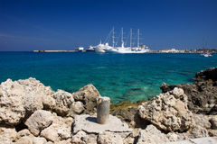 Rodos harbor. With its beautiful sea Royalty Free Stock Photography