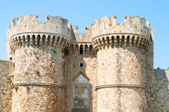 Rodos. Medieval gate towers at rhodes island Royalty Free Stock Images