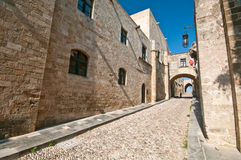 Rodos. Medieval long street at rhodes island Royalty Free Stock Image