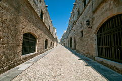 Rodos. Medieval long street at rhodes island Stock Image