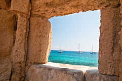 Rodos. Old harbor at rhodes island Royalty Free Stock Image