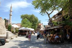 Rodos Old Town. Touristic scene in the Rodos City Old Town Royalty Free Stock Images