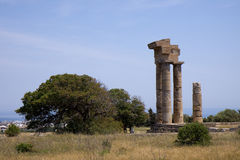 Rodos ruins. At the peak of the town Royalty Free Stock Images