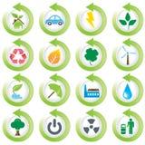 środowiskowe zielone ikony Ilustracja Wektor
