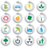 środowiskowe zielone ikony Ilustracji