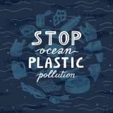 ?rodowiskowego sztandaru plastikowego ?mieciarskiego grata morski ?ycie w nasz oceanie i tekst zatrzymujemy plastikowego zanieczy ilustracja wektor