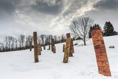 Rodowitego Amerykanina ślad Cazenovia, - Kamienny łupu wzgórza sztuki park - Obraz Royalty Free