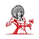 Rodowitego Amerykanina Indiański mężczyzna w piórkowym pióropuszu szablonie zdjęcia stock