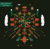 Rodowitego Amerykanina plemienny projekt pomarańczowy kręgów tła ornament kwadratów wektora Fotografia Stock