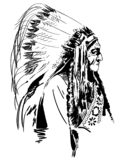 Rodowitego Amerykanina wektoru eps ręka rysująca, wektor, Eps, logo, ikona, crafteroks, sylwetki ilustracja dla różnego używa royalty ilustracja