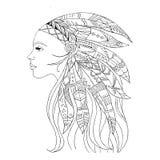 Rodowity Amerykanin Indiańska dziewczyna w odgórnym kłobuku ilustracji