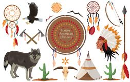 Rodowity Amerykanin klamerki Indiańscy kolekcja sztuki ilustracji