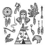 Rodowitych Amerykan indianów tradycyjnej kultury nakreślenia wektorowe ikony ustawiać Zdjęcie Royalty Free