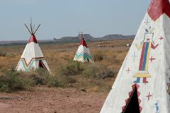 Rodowitych Amerykan tepees Fotografia Royalty Free