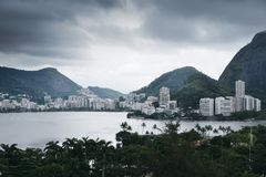 Rodrigo de Freitas Lagoon, Rio de Janeiro. Rodrigo de Freitas Lagoon is a lagoon in the district of Lagoa in the Zona Sul South Zone area of Rio de Janeiro Royalty Free Stock Photography