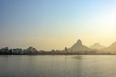 Rodrigo de Freitas Lagoon. Landscape at dusk where will be held the 2016 Olympic Games rowing events in Rio de Janeiro Royalty Free Stock Photo