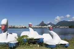 Rodrigo de Freitas Lagoon in Rio de Janeiro Brazil. Pedra da gavea and two brothers mountains stock photo