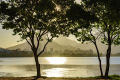 Rodrigo de Freitas lagoon at summer. Late summer afternoon with the sun shining on the water and through the trees of the Rodrigo de Freitas lagoon in Rio de Stock Photos