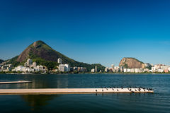 Rodrigo de Freitas Lagoon. View or Mountains and Buildings of Rio de Janeiro around Rodrigo de Freitas Lagoon Stock Image