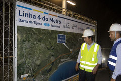 Rodrigo Vieira Rio government's transport secretary show Rio Metro works Stock Photo