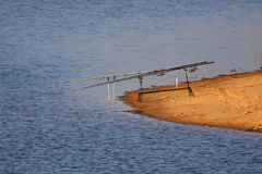 Rods. Fishing on the lake - rods stock image