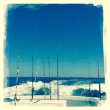 Rods and lines on fishing boat Stock Photo
