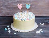 Rodzaj wyjawia tort z marshmallow i miodownikiem Obraz Royalty Free